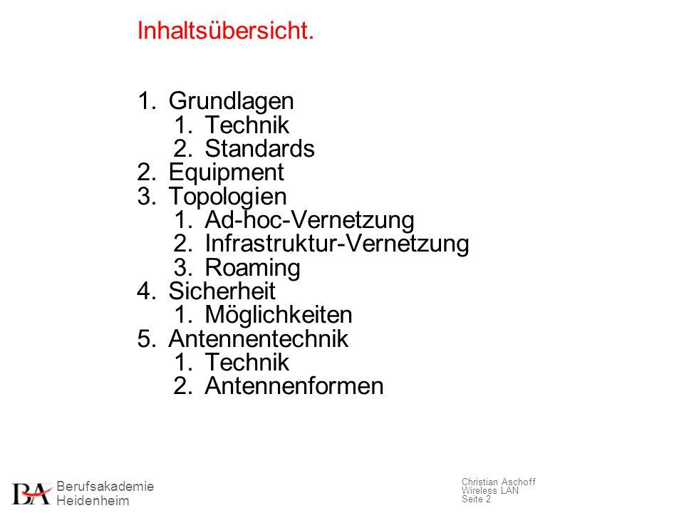 Berufsakademie Heidenheim Christian Aschoff Wireless LAN Seite 2 Inhaltsübersicht. 1. Grundlagen 1. Technik 2. Standards 2. Equipment 3. Topologien 1.