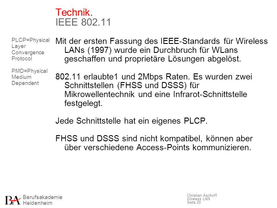 Berufsakademie Heidenheim Christian Aschoff Wireless LAN Seite 20 Technik. IEEE 802.11 Mit der ersten Fassung des IEEE-Standards für Wireless LANs (19