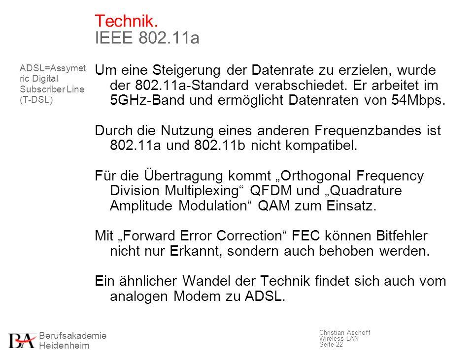 Berufsakademie Heidenheim Christian Aschoff Wireless LAN Seite 22 Technik. IEEE 802.11a Um eine Steigerung der Datenrate zu erzielen, wurde der 802.11