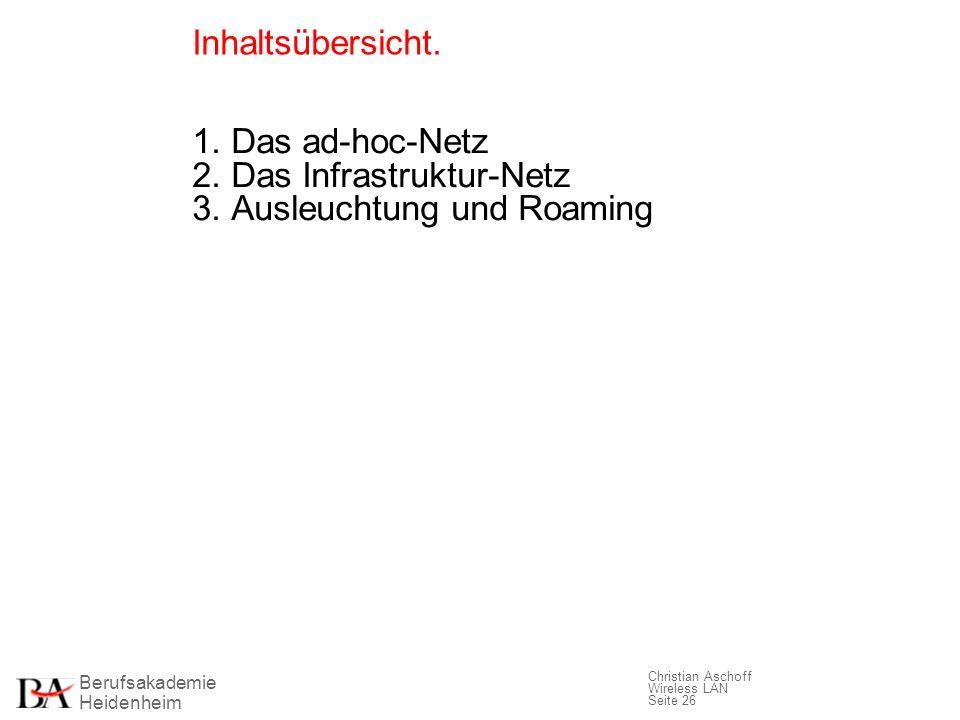 Berufsakademie Heidenheim Christian Aschoff Wireless LAN Seite 26 Inhaltsübersicht. 1. Das ad-hoc-Netz 2. Das Infrastruktur-Netz 3. Ausleuchtung und R