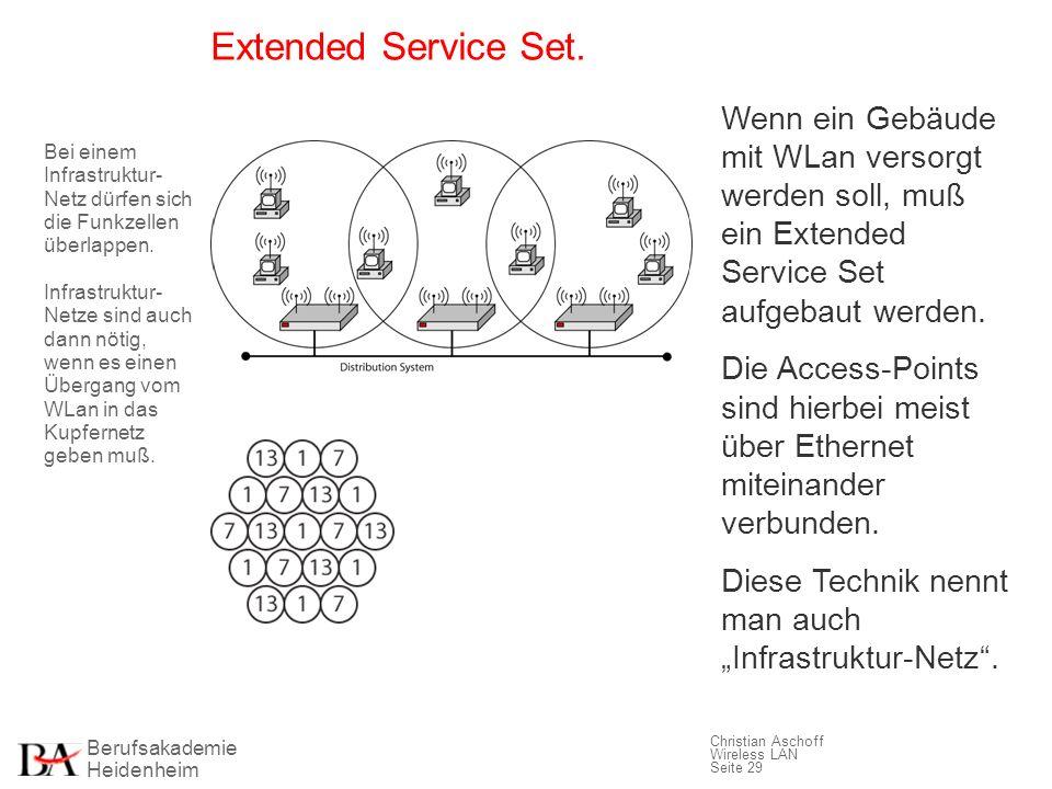 Berufsakademie Heidenheim Christian Aschoff Wireless LAN Seite 29 Extended Service Set. Wenn ein Gebäude mit WLan versorgt werden soll, muß ein Extend