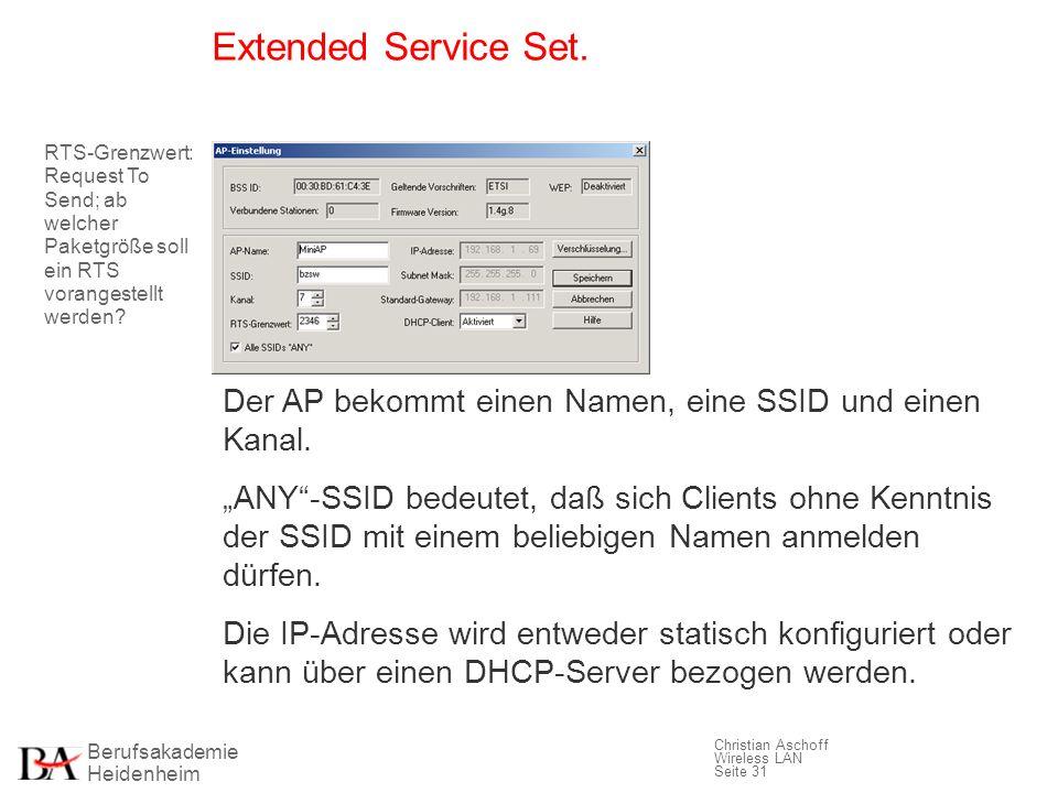 Berufsakademie Heidenheim Christian Aschoff Wireless LAN Seite 31 Extended Service Set. Der AP bekommt einen Namen, eine SSID und einen Kanal. ANY-SSI