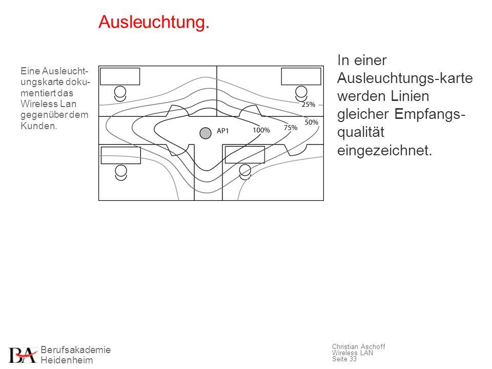Berufsakademie Heidenheim Christian Aschoff Wireless LAN Seite 33 Ausleuchtung. In einer Ausleuchtungs-karte werden Linien gleicher Empfangs- qualität