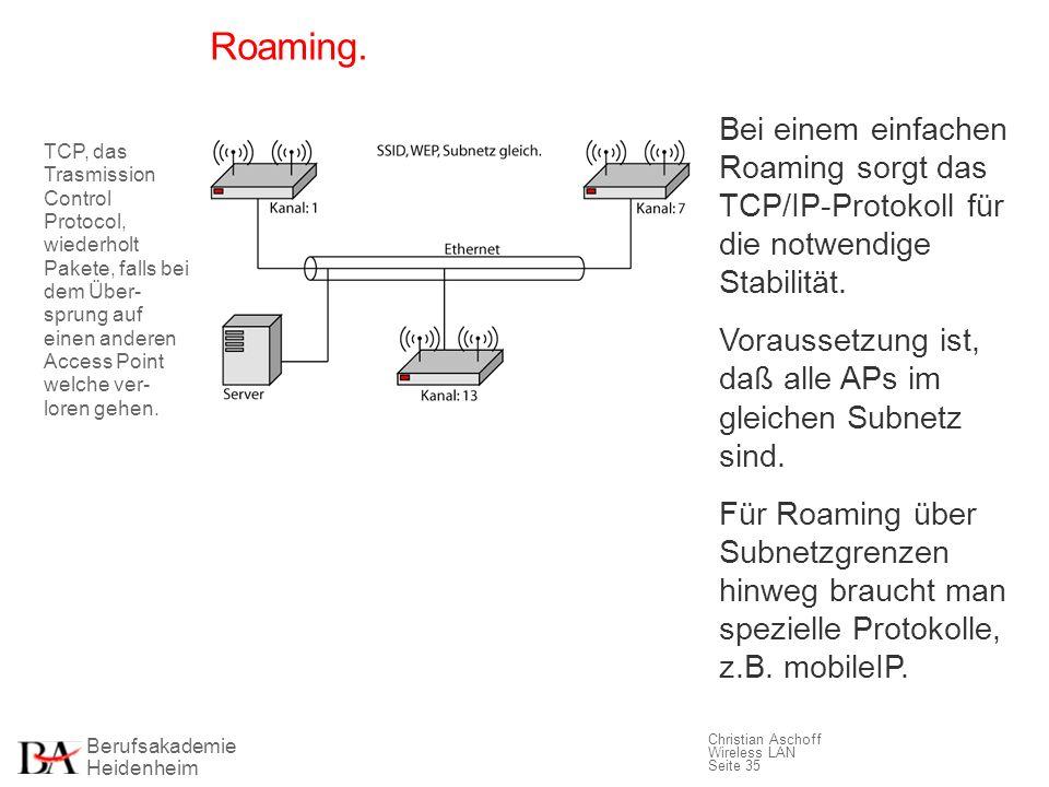 Berufsakademie Heidenheim Christian Aschoff Wireless LAN Seite 35 Roaming. Bei einem einfachen Roaming sorgt das TCP/IP-Protokoll für die notwendige S