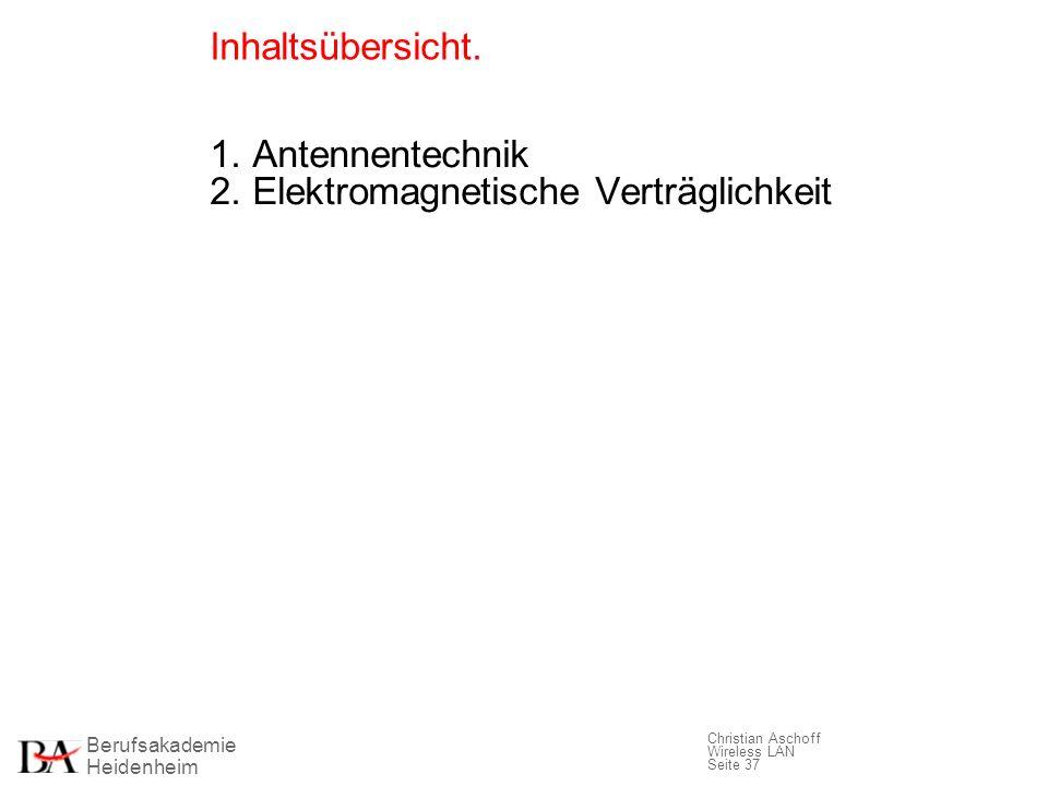 Berufsakademie Heidenheim Christian Aschoff Wireless LAN Seite 37 Inhaltsübersicht. 1. Antennentechnik 2. Elektromagnetische Verträglichkeit