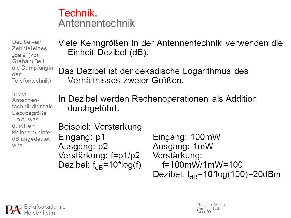 Berufsakademie Heidenheim Christian Aschoff Wireless LAN Seite 39 Technik. Antennentechnik Viele Kenngrößen in der Antennentechnik verwenden die Einhe