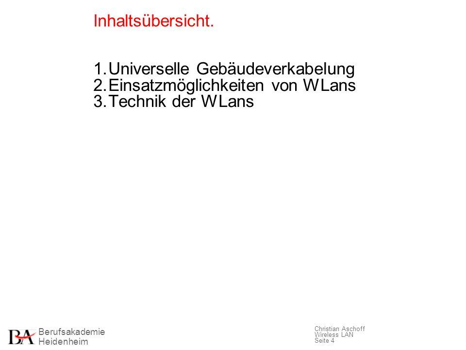 Berufsakademie Heidenheim Christian Aschoff Wireless LAN Seite 4 Inhaltsübersicht. 1.Universelle Gebäudeverkabelung 2.Einsatzmöglichkeiten von WLans 3