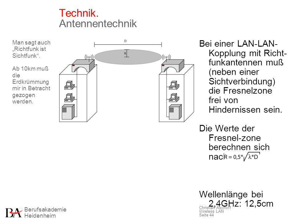 Berufsakademie Heidenheim Christian Aschoff Wireless LAN Seite 44 Technik. Antennentechnik Man sagt auch Richtfunk ist Sichtfunk. Ab 10km muß die Erdk