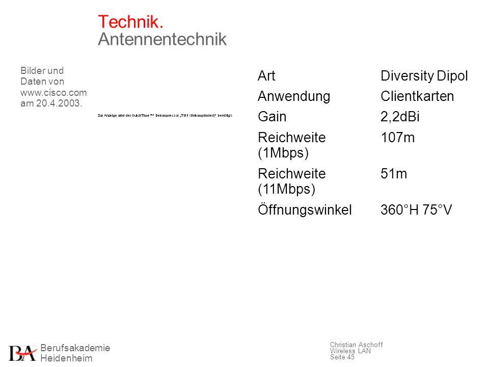 Berufsakademie Heidenheim Christian Aschoff Wireless LAN Seite 45 Technik. Antennentechnik Bilder und Daten von www.cisco.com am 20.4.2003. ArtDiversi
