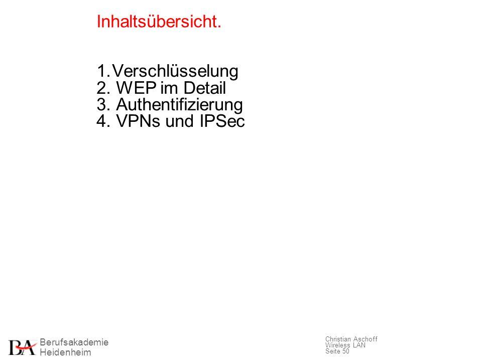 Berufsakademie Heidenheim Christian Aschoff Wireless LAN Seite 50 Inhaltsübersicht. 1.Verschlüsselung 2. WEP im Detail 3. Authentifizierung 4. VPNs un