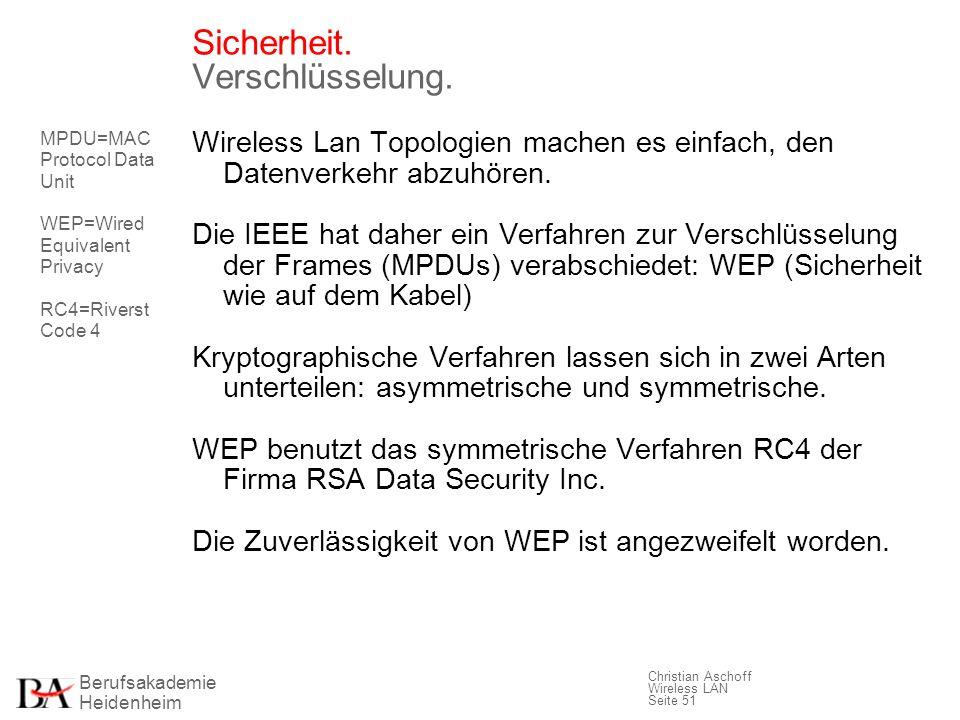 Berufsakademie Heidenheim Christian Aschoff Wireless LAN Seite 51 Sicherheit. Verschlüsselung. Wireless Lan Topologien machen es einfach, den Datenver