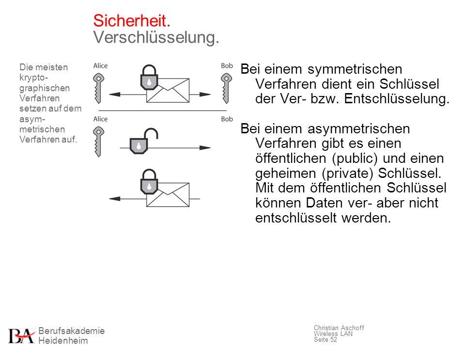 Berufsakademie Heidenheim Christian Aschoff Wireless LAN Seite 52 Sicherheit. Verschlüsselung. Bei einem symmetrischen Verfahren dient ein Schlüssel d