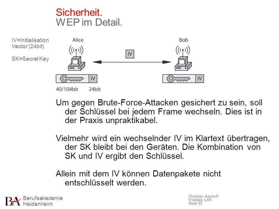 Berufsakademie Heidenheim Christian Aschoff Wireless LAN Seite 55 Sicherheit. WEP im Detail. Um gegen Brute-Force-Attacken gesichert zu sein, soll der