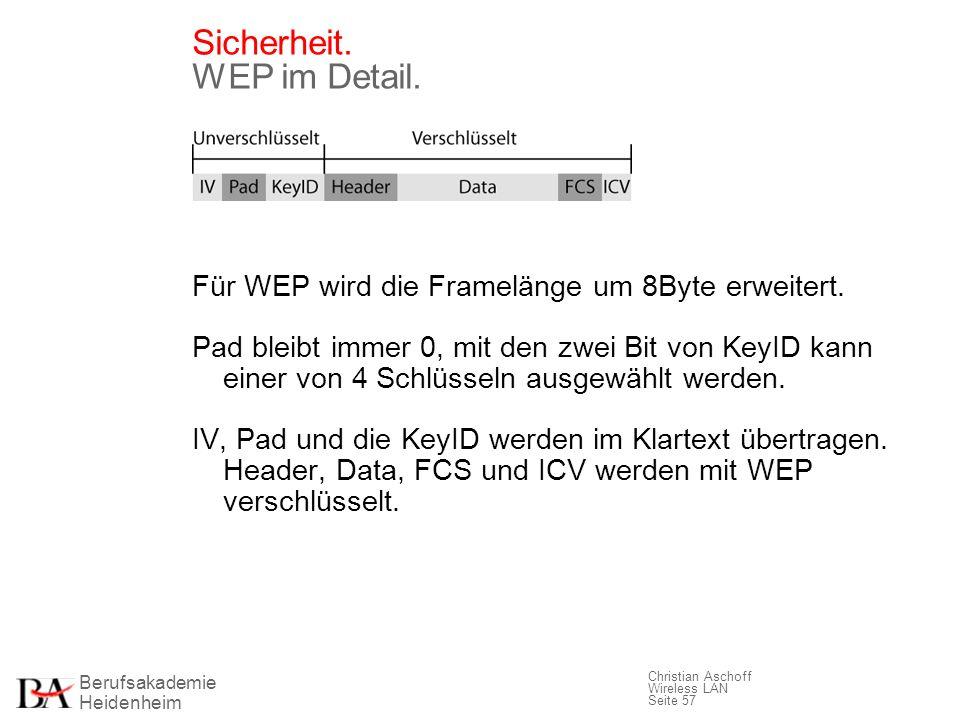 Berufsakademie Heidenheim Christian Aschoff Wireless LAN Seite 57 Sicherheit. WEP im Detail. Für WEP wird die Framelänge um 8Byte erweitert. Pad bleib