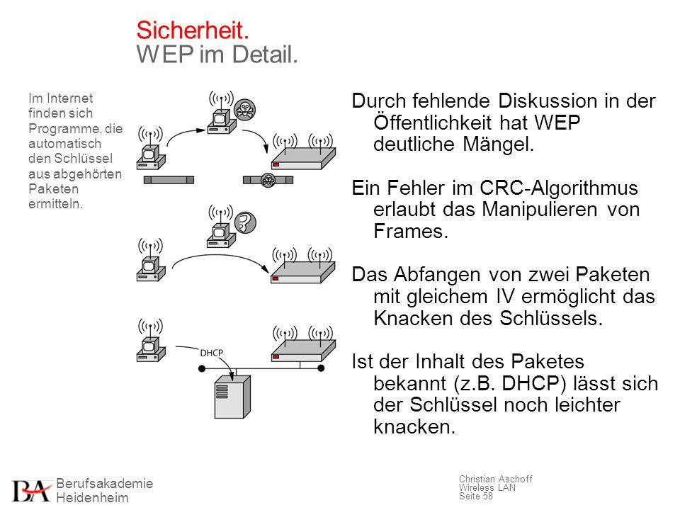 Berufsakademie Heidenheim Christian Aschoff Wireless LAN Seite 58 Sicherheit. WEP im Detail. Durch fehlende Diskussion in der Öffentlichkeit hat WEP d