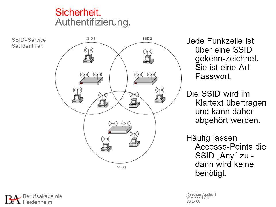 Berufsakademie Heidenheim Christian Aschoff Wireless LAN Seite 60 Sicherheit. Authentifizierung. Jede Funkzelle ist über eine SSID gekenn-zeichnet. Si