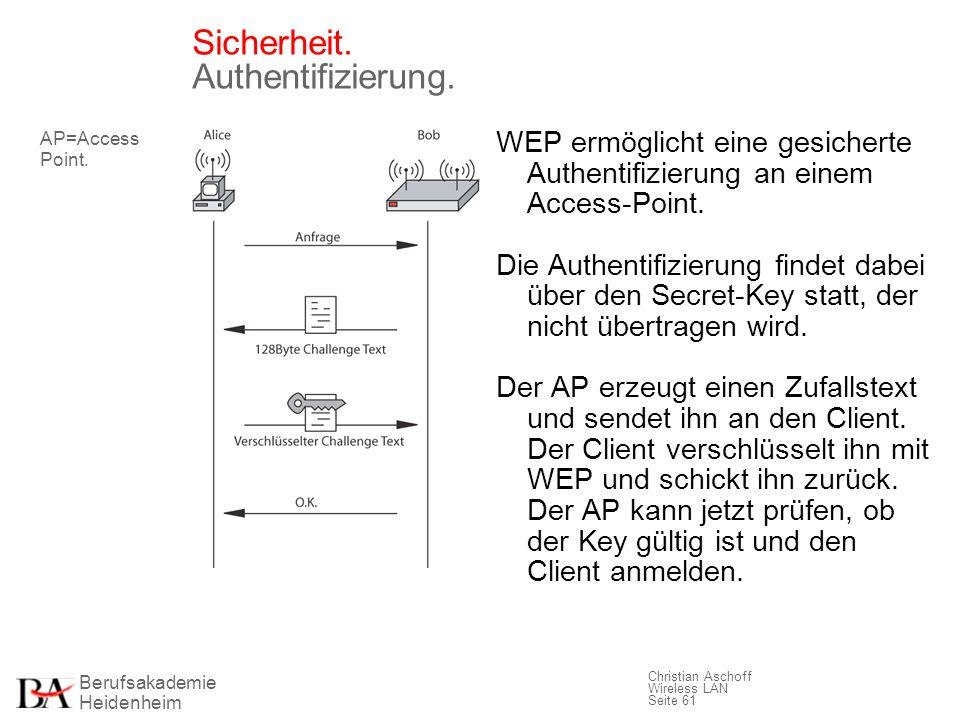 Berufsakademie Heidenheim Christian Aschoff Wireless LAN Seite 61 Sicherheit. Authentifizierung. WEP ermöglicht eine gesicherte Authentifizierung an e
