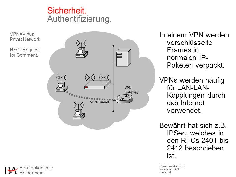 Berufsakademie Heidenheim Christian Aschoff Wireless LAN Seite 64 Sicherheit. Authentifizierung. In einem VPN werden verschlüsselte Frames in normalen