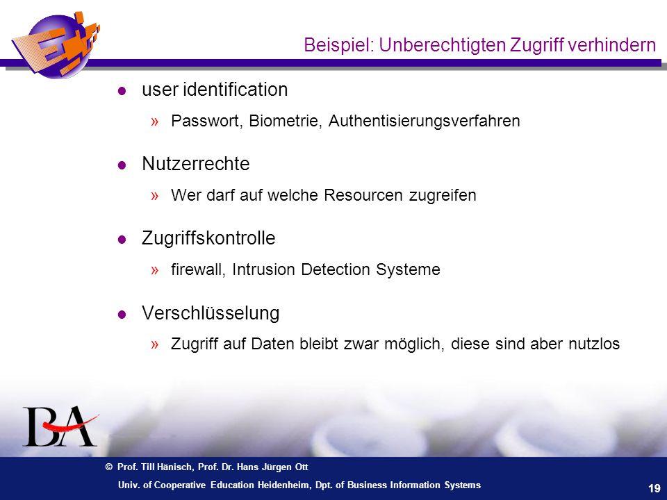 © Prof. Till Hänisch, Prof. Dr. Hans Jürgen Ott 19 Univ. of Cooperative Education Heidenheim, Dpt. of Business Information Systems Beispiel: Unberecht