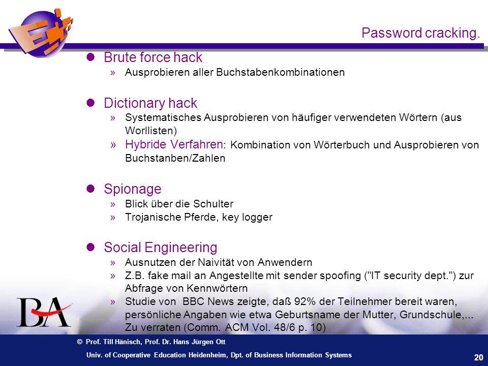 © Prof. Till Hänisch, Prof. Dr. Hans Jürgen Ott 20 Univ. of Cooperative Education Heidenheim, Dpt. of Business Information Systems lBrute force hack »