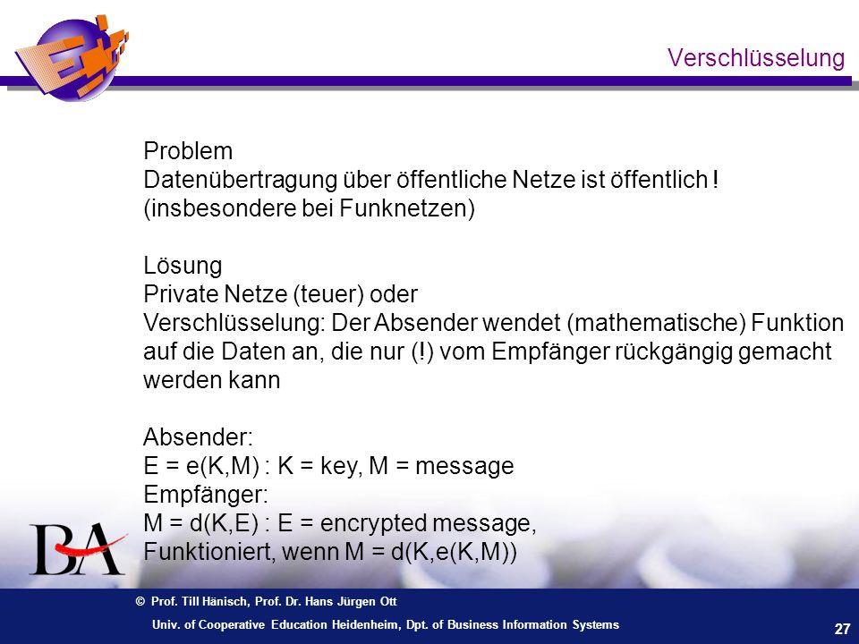 © Prof. Till Hänisch, Prof. Dr. Hans Jürgen Ott 27 Univ. of Cooperative Education Heidenheim, Dpt. of Business Information Systems Verschlüsselung Pro