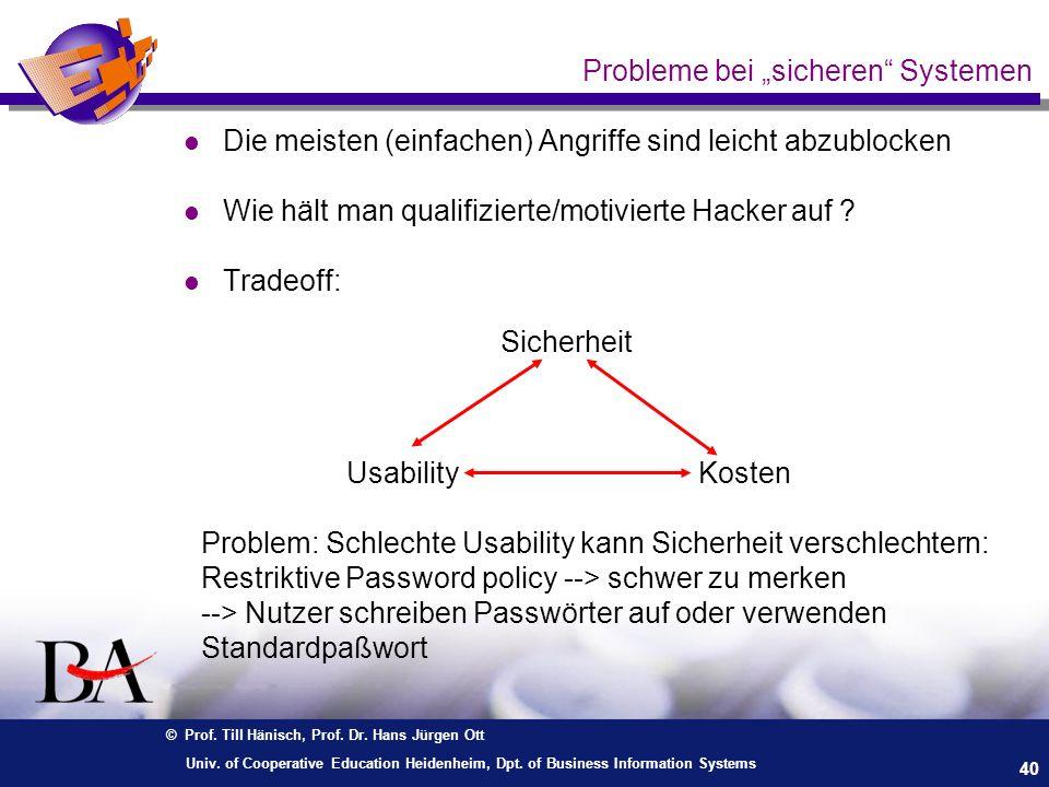 © Prof. Till Hänisch, Prof. Dr. Hans Jürgen Ott 40 Univ. of Cooperative Education Heidenheim, Dpt. of Business Information Systems Probleme bei sicher