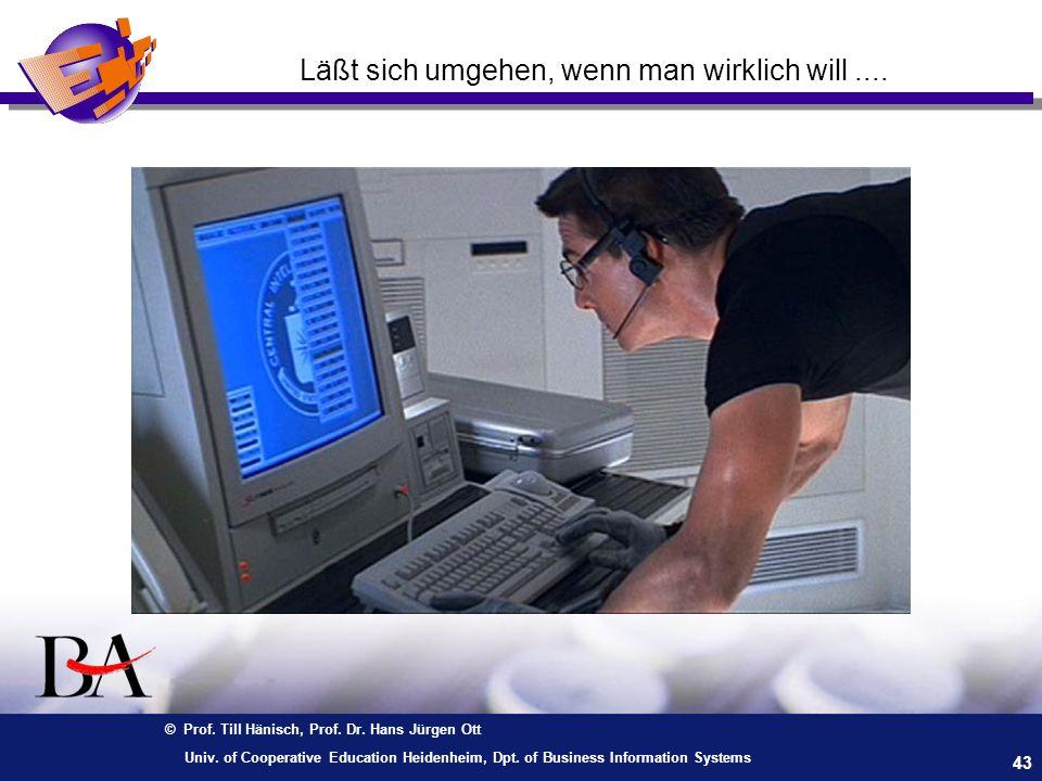 © Prof. Till Hänisch, Prof. Dr. Hans Jürgen Ott 43 Univ. of Cooperative Education Heidenheim, Dpt. of Business Information Systems Läßt sich umgehen,