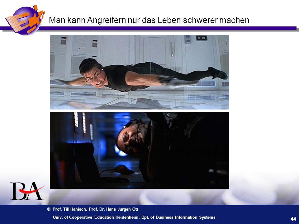 © Prof. Till Hänisch, Prof. Dr. Hans Jürgen Ott 44 Univ. of Cooperative Education Heidenheim, Dpt. of Business Information Systems Man kann Angreifern