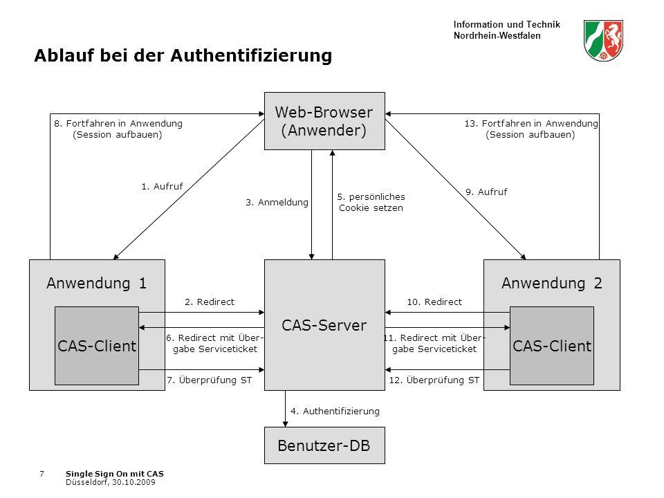 Information und Technik Nordrhein-Westfalen Single Sign On mit CAS Düsseldorf, 30.10.2009 7 Ablauf bei der Authentifizierung Web-Browser (Anwender) CAS-Server CAS-Client Anwendung 1 Benutzer-DB 1.