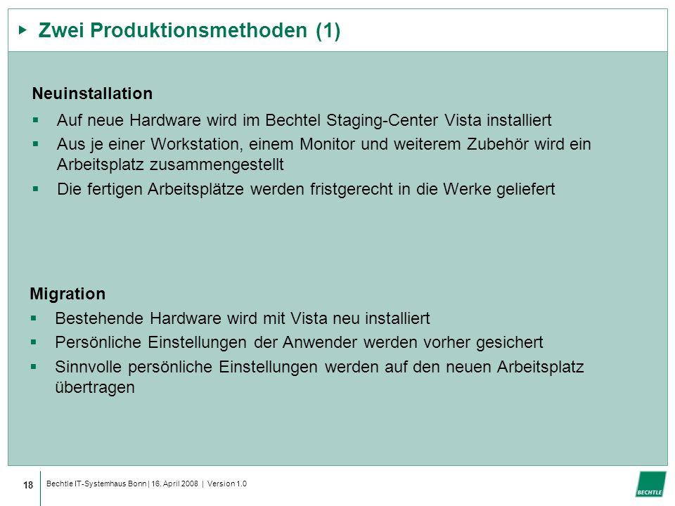 Bechtle IT-Systemhaus Bonn | 16. April 2008 | Version 1.0 Zwei Produktionsmethoden (1) Neuinstallation Auf neue Hardware wird im Bechtel Staging-Cente