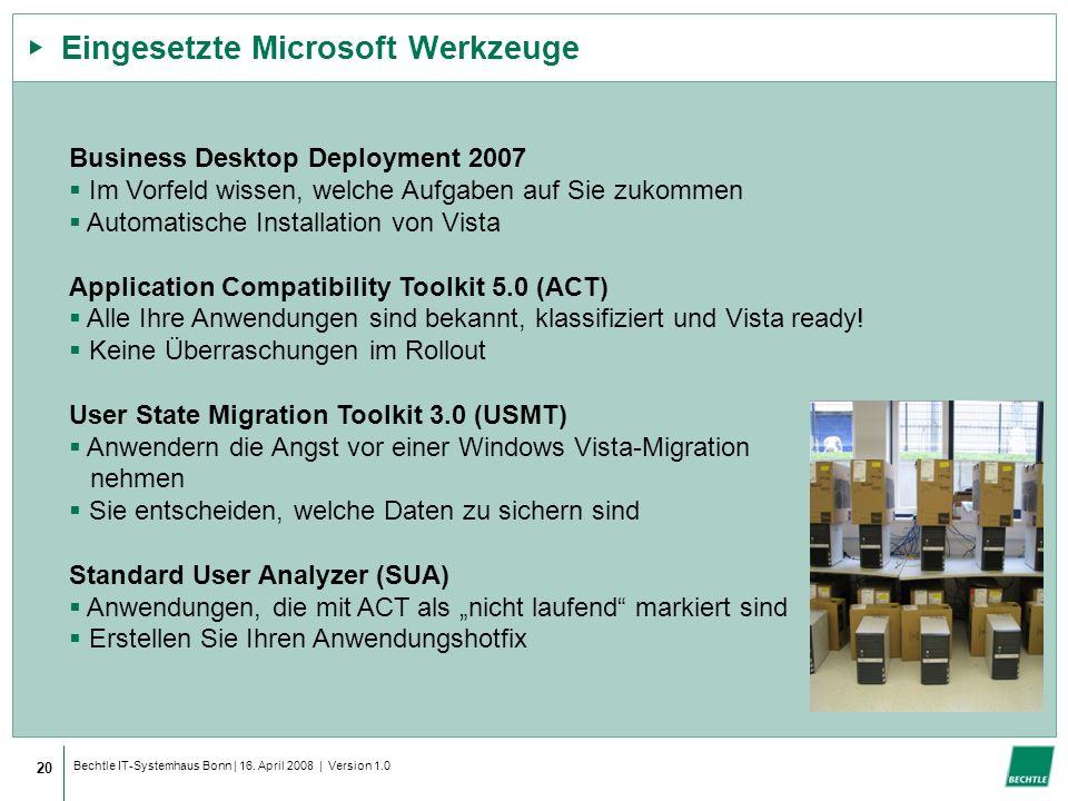 Bechtle IT-Systemhaus Bonn | 16. April 2008 | Version 1.0 Eingesetzte Microsoft Werkzeuge 20 Business Desktop Deployment 2007 Im Vorfeld wissen, welch