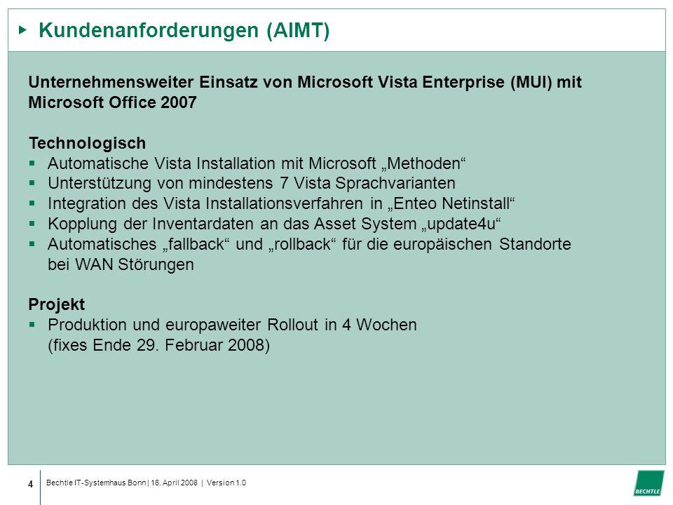 Bechtle IT-Systemhaus Bonn | 16. April 2008 | Version 1.0 Kundenanforderungen (AIMT) 4 Unternehmensweiter Einsatz von Microsoft Vista Enterprise (MUI)