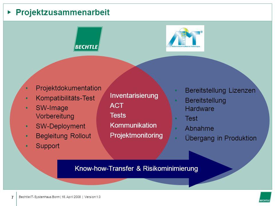 Bechtle IT-Systemhaus Bonn | 16. April 2008 | Version 1.0 Projektzusammenarbeit 7 Know-how-Transfer & Risikominimierung Bereitstellung Lizenzen Bereit