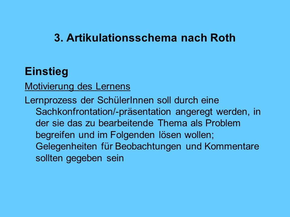3. Artikulationsschema nach Roth Einstieg Motivierung des Lernens Lernprozess der SchülerInnen soll durch eine Sachkonfrontation/-präsentation angereg