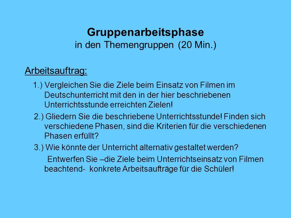 Gruppenarbeitsphase in den Themengruppen (20 Min.) Arbeitsauftrag: 1.) Vergleichen Sie die Ziele beim Einsatz von Filmen im Deutschunterricht mit den