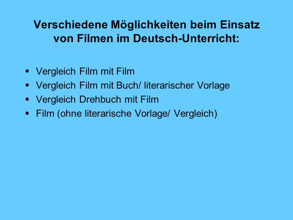 Verschiedene Möglichkeiten beim Einsatz von Filmen im Deutsch-Unterricht: Vergleich Film mit Film Vergleich Film mit Buch/ literarischer Vorlage Vergl
