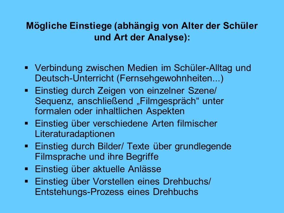 Mögliche Einstiege (abhängig von Alter der Schüler und Art der Analyse): Verbindung zwischen Medien im Schüler-Alltag und Deutsch-Unterricht (Fernsehg