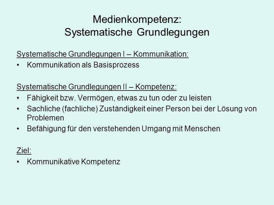 Medienkompetenz: Systematische Grundlegungen Systematische Grundlegungen I – Kommunikation: Kommunikation als Basisprozess Systematische Grundlegungen