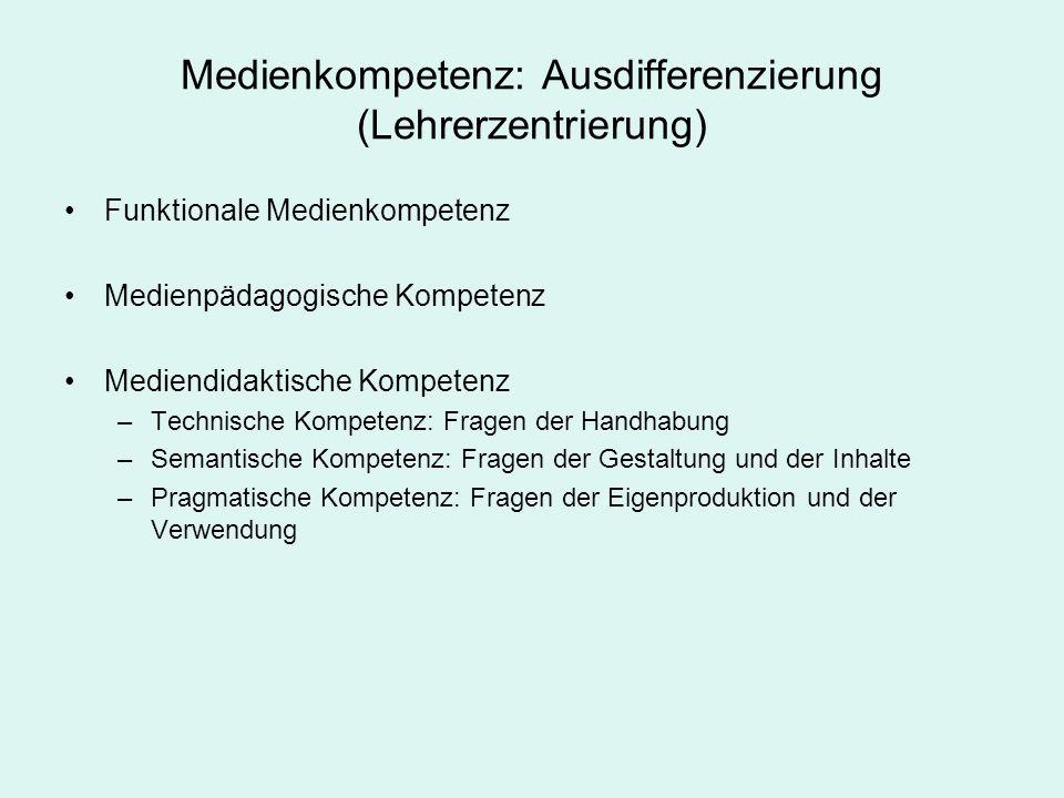 Medienkompetenz: Ausdifferenzierung (Lehrerzentrierung) Funktionale Medienkompetenz Medienpädagogische Kompetenz Mediendidaktische Kompetenz –Technisc
