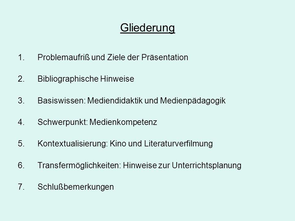 Gliederung 1.Problemaufriß und Ziele der Präsentation 2.Bibliographische Hinweise 3.Basiswissen: Mediendidaktik und Medienpädagogik 4.Schwerpunkt: Med