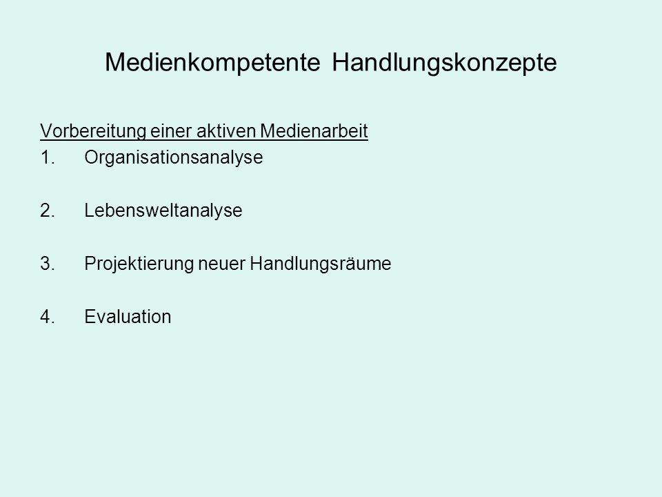 Medienkompetente Handlungskonzepte Vorbereitung einer aktiven Medienarbeit 1.Organisationsanalyse 2.Lebensweltanalyse 3.Projektierung neuer Handlungsr