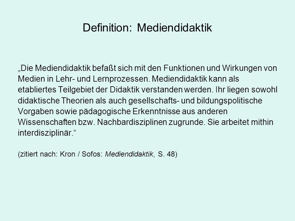 Mediendidaktik: Wissenschaftsentwicklung und Rahmendisziplinen Pädagogik –Medienpädagogik Didaktik –Fachdidaktiken Nachbardisziplinen (Auswahl) –Psychologie –Soziologie –Kommunikationswissenschaften