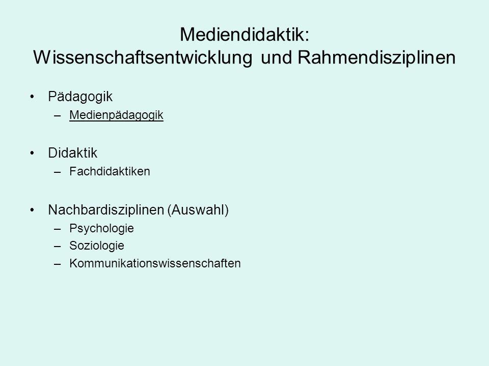Mediendidaktik: Wissenschaftsentwicklung und Rahmendisziplinen Pädagogik –Medienpädagogik Didaktik –Fachdidaktiken Nachbardisziplinen (Auswahl) –Psych