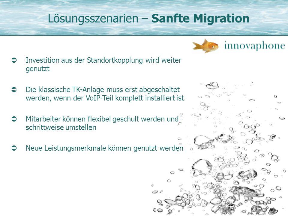 Lösungsszenarien – Sanfte Migration Investition aus der Standortkopplung wird weiter genutzt Die klassische TK-Anlage muss erst abgeschaltet werden, w