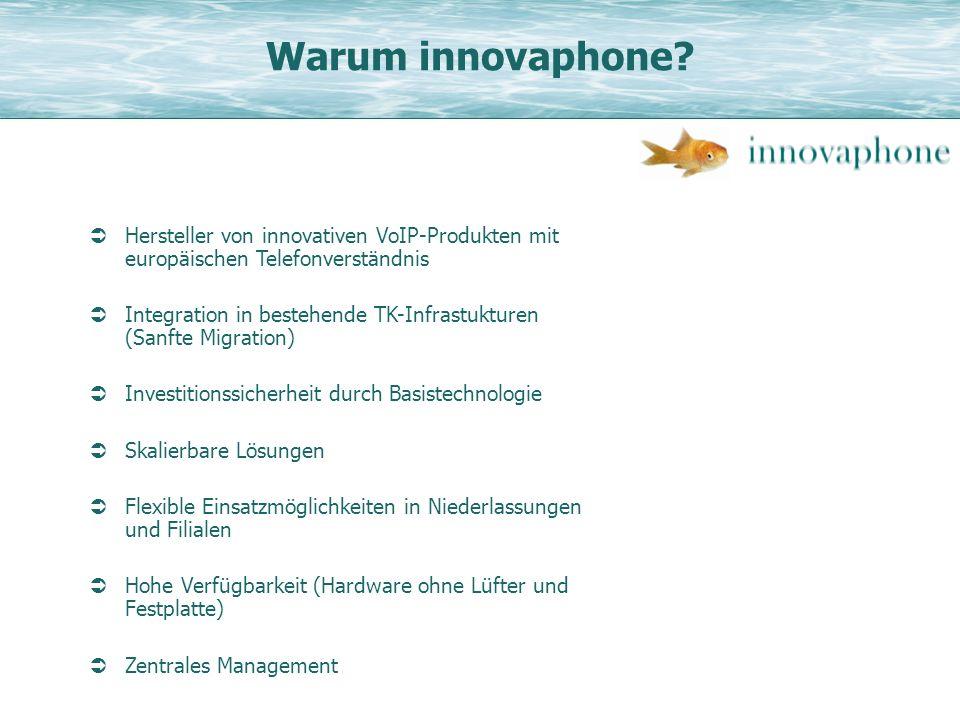 Warum innovaphone? Hersteller von innovativen VoIP-Produkten mit europäischen Telefonverständnis Integration in bestehende TK-Infrastukturen (Sanfte M