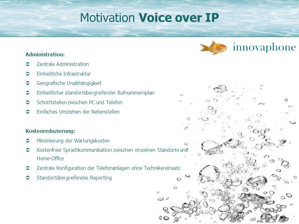 Motivation Voice over IP Administration: Zentrale Administration Einheitliche Infrastruktur Geografische Unabhängigkeit Einheitlicher standortübergrei