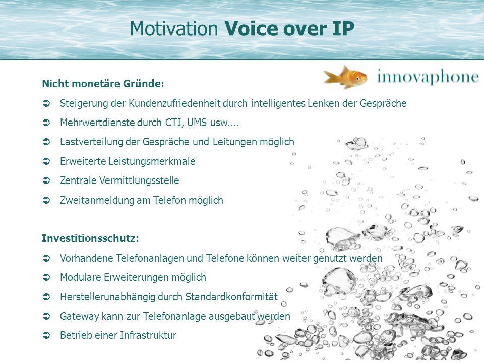 Motivation Voice over IP Nicht monetäre Gründe: Steigerung der Kundenzufriedenheit durch intelligentes Lenken der Gespräche Mehrwertdienste durch CTI,