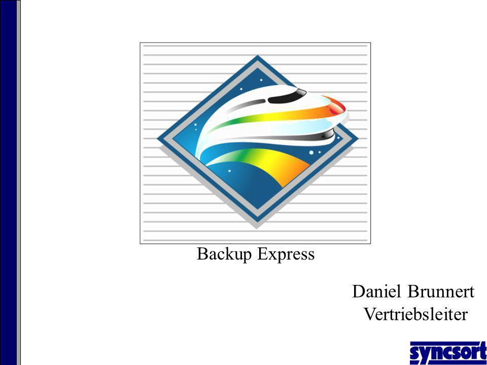 File System File1 File2 File3 : Backup Express BLIB Process Disk Image-based BLIB File-level Restore Instant Availability App Object Restore ExpressDR Secondary Disk Storage (DAS/SAN/iSCSI) Syncsort XRS Advanced Client Agenten: Windows XP Windows 2000 Windows 2003, 32/64 Windows Vista, 32/64 Solaris 10+ SPARC Die Lösung XRS - eXpress Recovery Server Block-level, image backup mit file-level restore High speed backup performance auf Grund 1.