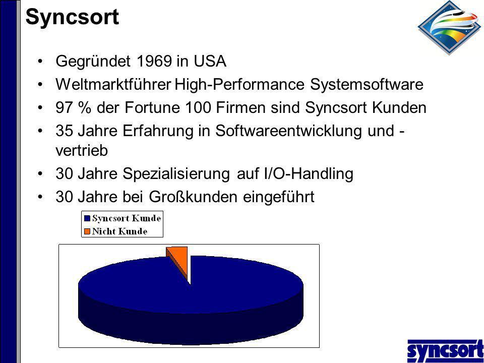 Syncsort Gegründet 1969 in USA Weltmarktführer High-Performance Systemsoftware 97 % der Fortune 100 Firmen sind Syncsort Kunden 35 Jahre Erfahrung in Softwareentwicklung und - vertrieb 30 Jahre Spezialisierung auf I/O-Handling 30 Jahre bei Großkunden eingeführt