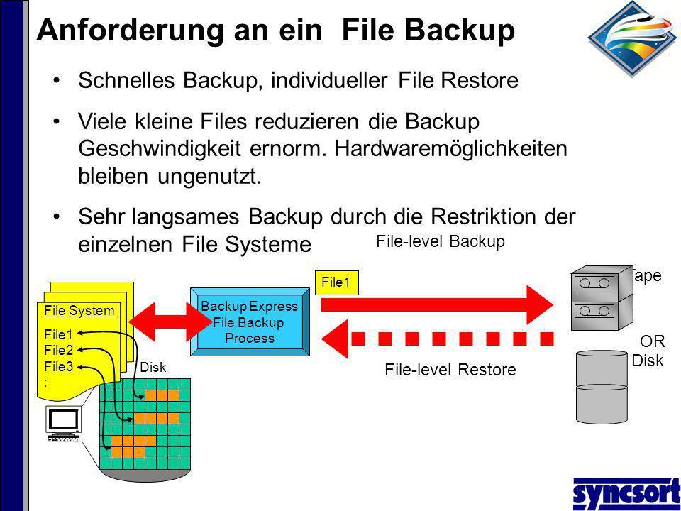 File3File2 Backup Express File Backup Process File System File1 File2 File3 : OR Tape Disk File1 Schnelles Backup, individueller File Restore Viele kleine Files reduzieren die Backup Geschwindigkeit ernorm.